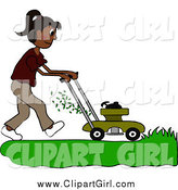 Clip Art of a Hispanic Woman Mowing a Lawn with a Mower by Pams Clipart