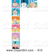 Clip Art of a Holiday and Occupation Scenes of Blond Caucasian Boys and Girls, on White by Dennis Holmes Designs