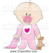 July 12nd, 2015: Clip Art of a Innocent White Baby Boy with a Teddy Bear, Pacifier and Blanket by Maria Bell
