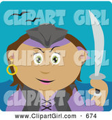Clip Art of a Latin American Pirate Woman Holding a Sword, on a Teal Background by Dennis Holmes Designs