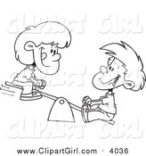 Clip Art of a Lineart Boy and Girl on a Teeter Totter by Toonaday