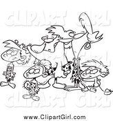 Clip Art of a Lineart Caveman Family by Toonaday