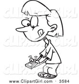 Clip Art of a Lineart Little Girl Texting on a Cell Phone by Toonaday