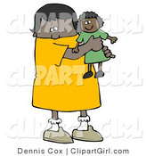 Clip Art of a Little Black Girl Child Holding and Hugging Her Doll Toy While Playing by Djart