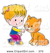 Clip Art of a Little Blond Girl Crouching to Pet a Cat on White by Alex Bannykh