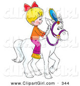 Clip Art of a Little Blond Girl Riding a White Horse to the Right by Alex Bannykh