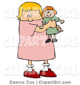 Clip Art of a Little Blond White Girl Child Holding and Hugging Her Red Haired Doll Toy While Playing by Djart