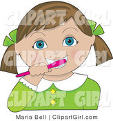 Clip Art of a Little Blue Eyed Girl with Her Brunette Hair in Pig Tails, Tied Back with Green Bows, Wearing a Green Dress and Brushing His Teeth with a Pink Toothbrush by Maria Bell