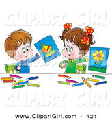 Clip Art of a Little Boy and Girl Holding up Their Drawings of a Flower and Boat, on White by Alex Bannykh