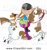 Clip Art of a Little Caucasian Girl Riding a Painted Pony with a Cavalier King Charles Spaniel Sitting Behind Her, Holding on to Her Braids by Maria Bell