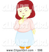 Clip Art of a Little Girl Munching on Tasty Candy by Cherie Reve