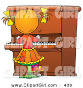 Clip Art of a Little Girl Playing Music on a Big Piano by Alex Bannykh