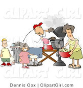 Clip Art of a Man and His Wife with Their Son and Daughter Grilling Barbecue Hamburgers by Djart