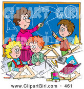 July 24th, 2013: Clip Art of a Math Teacher Woman Teaching School Students Geometry and Algebra by Alex Bannykh