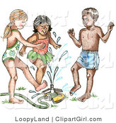 Clip Art of a Mixed Race Trio of Children Playing in a Sprinkler on a Hot Summer Day by LoopyLand