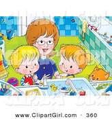 Clip Art of a Mother Bending down to Help Her Children, a Boy and Girl, Clean Themselves up in a Bathroom by Alex Bannykh