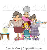 Clip Art of a Mother Cutting Her Young Daughter's Birthday Cake by Djart