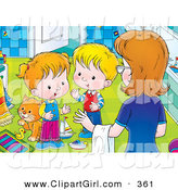 Clip Art of a Mother Instructing Her Two Little Children to Clean up the Messy Bathroom in the House by Alex Bannykh