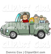 Clip Art of a Nice Caucasian Farmer Man Driving and Giving a Dog, a Boy, a Girl and a Man a Ride in His Truck Bed by Djart