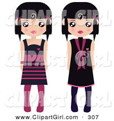 Clip Art of a Pair of Black Haired Female Paper Dolls in Black and Pink Dresses and Tights by Melisende Vector