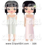 Clip Art of a Pair of Black Haired Female Paper Dolls in Formal White and Pink Prom or Wedding Dresses and Gowns, One Girl Wearing a Tiara and Gloves by Melisende Vector