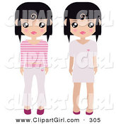 Clip Art of a Pair of Black Haired Female Paper Dolls Pink and White Shoes, Dresses, Pants and Shirts by Melisende Vector