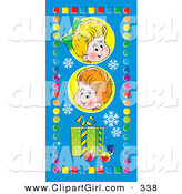 Clip Art of a Pair of Happy Children with a Gift and Ornaments, on a Blue Background with Snowflakes, Bordered by Colorful Squares and Circles by Alex Bannykh