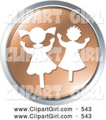 Clip Art of a Pair of Happy Dancing Children on a Brown Website Button by Alexia Lougiaki