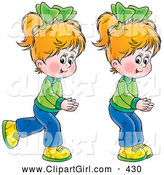 Clip Art of a Pair of Happy Little Blond Girls, Twins, Running and Playing by Alex Bannykh