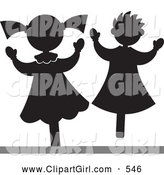 Clip Art of a Pair of Happy Little Girls or Stick Puppets by Alexia Lougiaki
