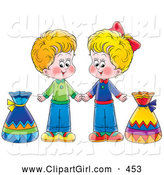 Clip Art of a Pair of Little Boy and Girl Holding Hands and Standing with Bags by Alex Bannykh