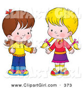 Clip Art of a Pair of Little Girls Standing Together and Talking by Alex Bannykh