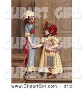 Clip Art of a Pair of Little Sisters at a Doorway, Smiling and Holding Hands, Circa 1880 by OldPixels