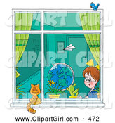 Clip Art of a Paper Airplane Flying past a School Girl in a Classroom As She Looks out a Window at a Cat by Alex Bannykh