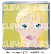 Clip Art of a Person Internet Messenger Avatar of a Cute Blond Girl with Big Blue Eyes and a Few Freckles by AtStockIllustration