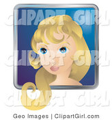 Clip Art of a Person Internet Messenger Avatar of a Pretty Woman with Blond Hair and Blue Eyes by AtStockIllustration