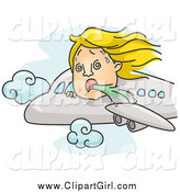 Clip Art of a Person Puking out of an Airplane Window by BNP Design Studio