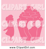 Clip Art of a Pink Silhouetted Girl and Giant Birthday Cupcake with Balloons by Cherie Reve