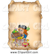 Clip Art of a Pirate Girl an Aged Vertical Parchment Page by Visekart