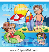 Clip Art of a Playful White Summer Kids with a Surfboard Innertube and Snorkel Gear by Visekart