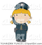 Clip Art of a Police Woman in a Blue Uniform Waving Hello by YUHAIZAN YUNUS