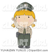 Clip Art of a Policewoman in a Green and Tan Uniform Waving Hello by YUHAIZAN YUNUS