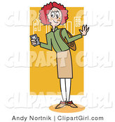 Clip Art of a Preppy Red Haired School Girl by Andy Nortnik