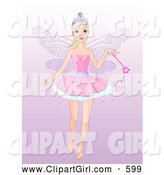 Clip Art of a Pretty and Friendly Fairy Princess Flying with a Magic Wand, on a Gradient Purple Background by Pushkin