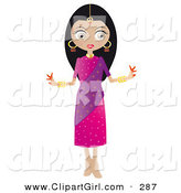 Clip Art of a Pretty Black Haired Indian Bollywood Female in a Pink and Purple Dress by Melisende Vector