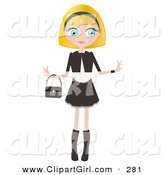 Clip Art of a Pretty Blond Haired, Blue Eyed Caucasian Woman Dressed in Black and White, Standing with Her Arms out and a Purse Draped on Her Wrist by Melisende Vector