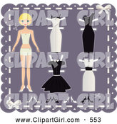 Clip Art of a Pretty Blond Teenage Girl Paper Doll on a Purple Background with Cutout Dresses and Shoes by Melisende Vector
