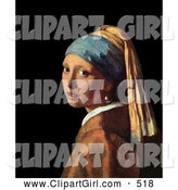 Clip Art of a Pretty Lady Looking over Her Shoulder, Original Artwork Titled Girl with a Pearl Earring by Johannes Vermeer by Jamers