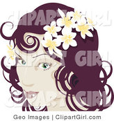 Clip Art of a Pretty Red Haired Woman Wearing Frangipani Flowers in Her Hair on White by AtStockIllustration