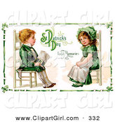 Clip Art of a Pretty Vintage Victorian St Patrick's Day Scene of an Irish Boy and Girl Dressed in Green and Sitting in Chairs Across from Each Other, Circa 1911 by OldPixels